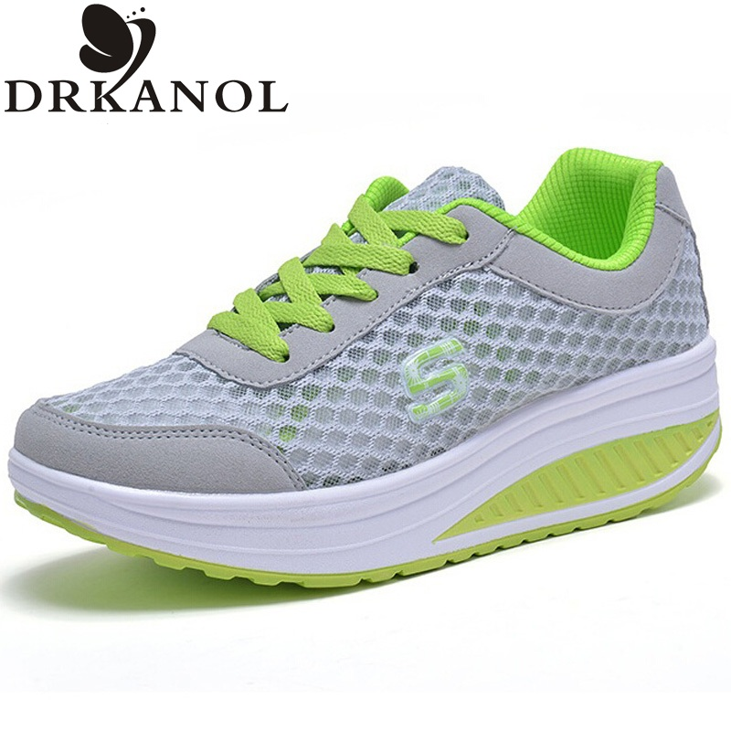 New 2017 Summer Breathable Air Mesh Shoes Women Lace Up Platform Women Casual Shoes Low Top Height Increasing Swing Shoes new mesh air women flats summer casual shoes height increasing comfort shoes woman platform ladies shoes