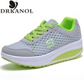 New Breathable air mesh fitness slimming shoes women lace up  platform casual shoes low top height increasing swing shoes