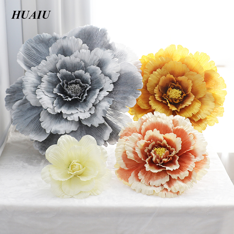 40cm / 50cm / 60cm / 70cm / 80cm Grande fiore artificiale di seta Rosa testa per la decorazione di nozze sfondo muro 5 colori fiore sullo sfondo
