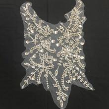 Large Rhinestone bead applique, crystal bodice patch, heavy handmade rhinestone applique bridal headpiece