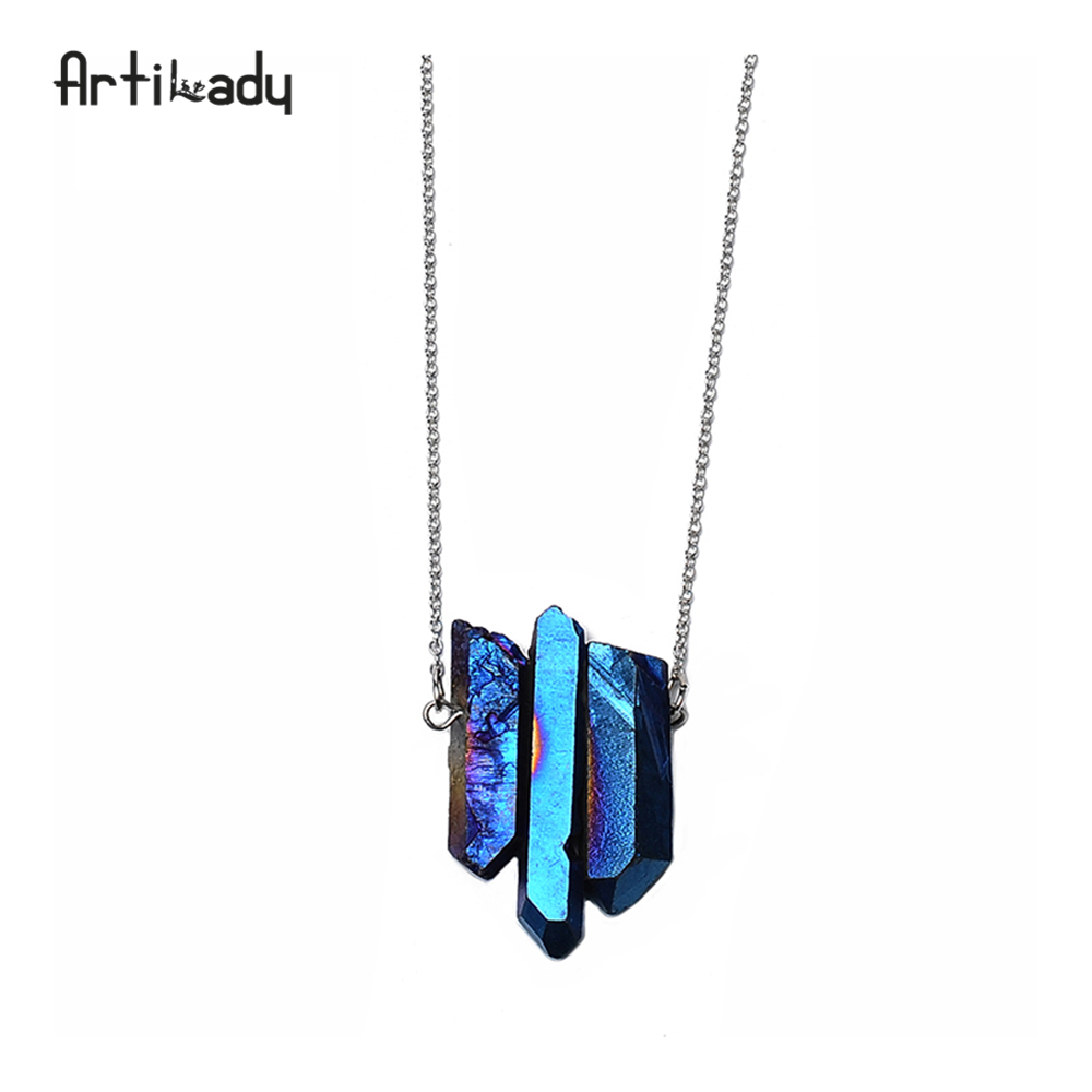 Artilady 3pcs crystal pendant necklaces silver chain raw quas