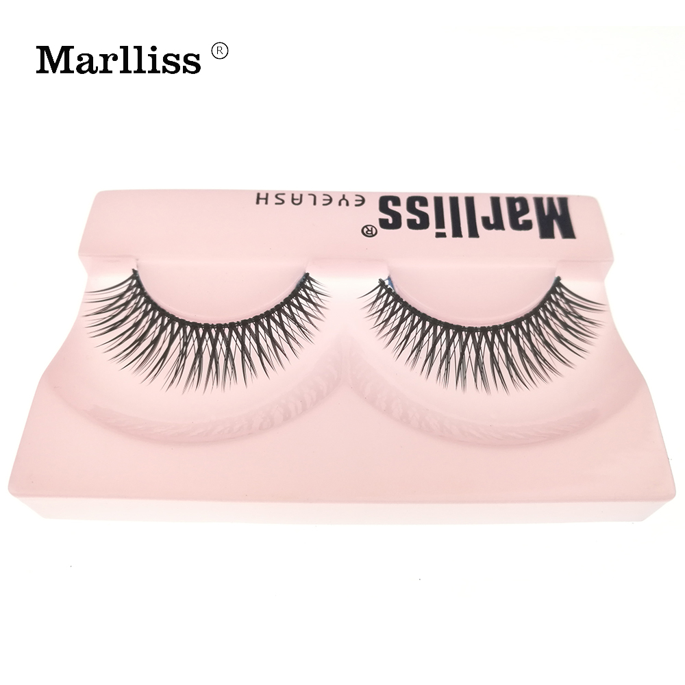 2017 New Style #823 Marlliss Reusable lashes Crisscross False lash Korea Fiber Strip false eyelashes Thick Promax false eyelash