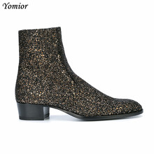Yomior New Fashion Sequin Genuine Leather Men Boots Pointed Toe Dress Wedding Ankle Boots Big Size Brand Zipper Chelsea Boots