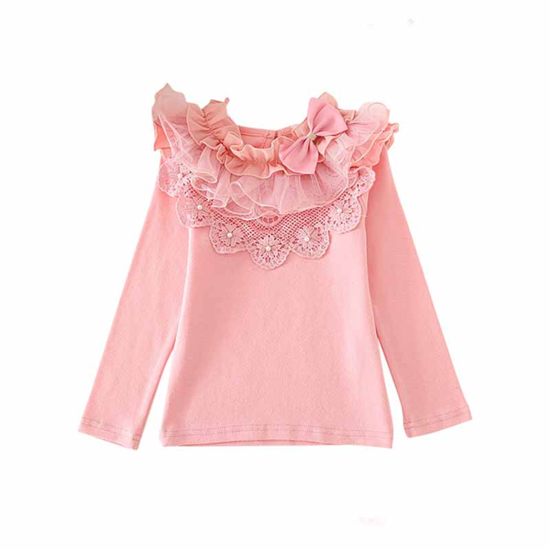 T-Shirts Kids Tops Flower-Girls Long-Sleeved Autumn Children's Spring Lace 2-7y