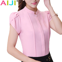 AIJI Summer Stand Collar Women Shirts OL Office Puff Short Sleeve Chiffon Blouses Ladies Formal Work