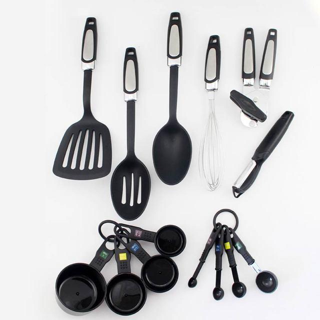 14pcs Black Silicone Cooking Tools /set Baking Utensils Set Kitchen Opener  Egg Agitator Accessories Cooking