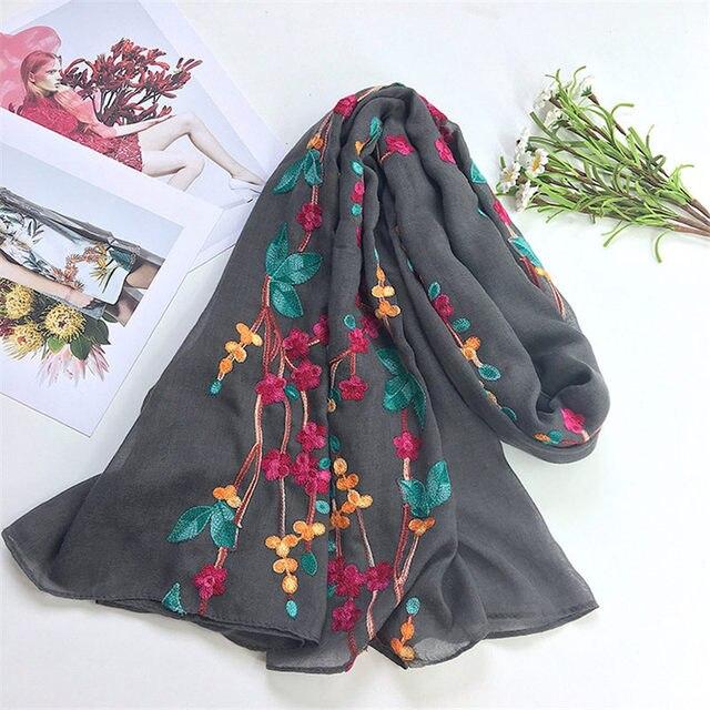 2017 Luxusmarke Design Frau Bestickte Schal Wrap Baumwolle