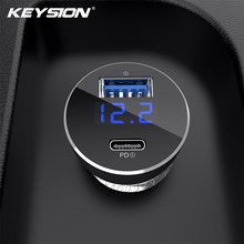 KEYSION Dual PD USB cargador de coche rápido de pantalla Digital USB C de carga para iPhone XS Max XR 8 Plus QC cargador rápido 3,0 para Samsung(China)