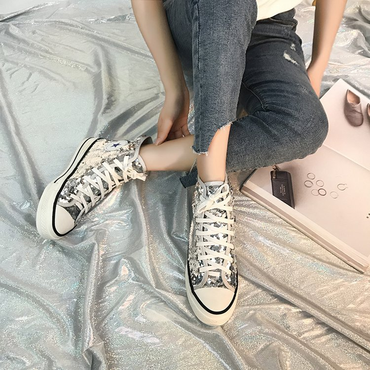 Tleni 2018 New High Top White Women Flats running Shoes Ladies Canvas Shoes lace-up Bling Bling sneaker shoes ZK-20 17