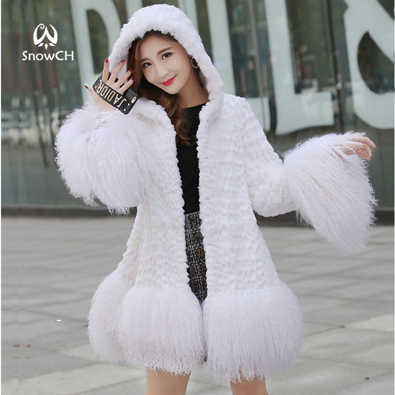 Genuine Rabbit Fur Coat With Big Hat Women Long Rabbit Fur Jacket With Lamb Fur Hem Winter Fur Coat Customized Big Size F945