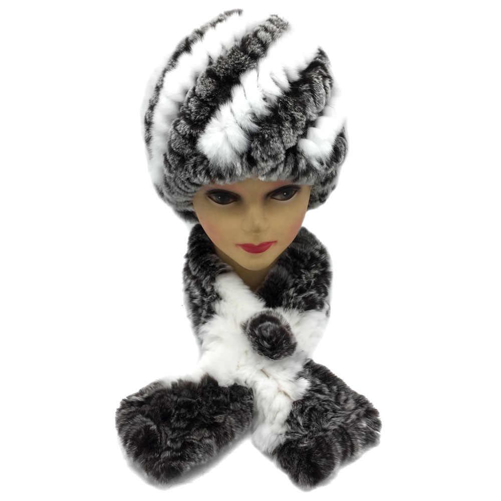 Зимние женские теплые Настоящий мех кролика шапка с натуральным шарф из меха кролика рекс 2 шт. наборы модный головной убор и глушитель