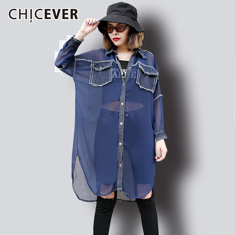 CHICEVER Women   Shirt     Blouse   Top Female Chiffon Patchwork Denim Picket Batwing Sleeve Fashion   Blouses     Shirts   Clothes Fashion New
