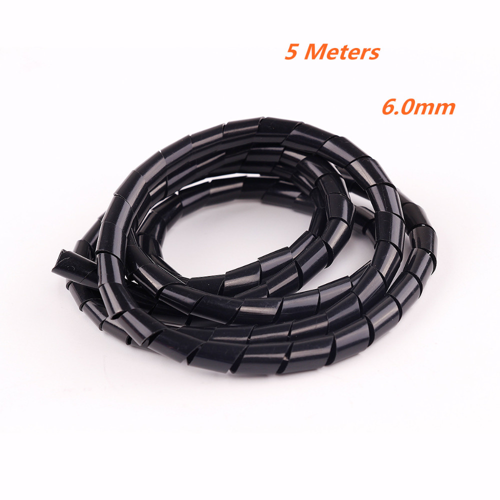 6mm 5m (1pack) bundles Spiral Cable Wires Tidy Wrap for PC Home ...
