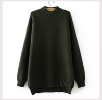 Autumn and Winter Vintage Women Sweater Long Sleeve Loose Turtleneck Knitted Pullover Army Green Sweaters Crop Top
