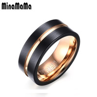New Design German Technology Black Charm Health Ring Rose Gold Color Tungsten Stainless Steel Rings Simple Design Men Jewelry