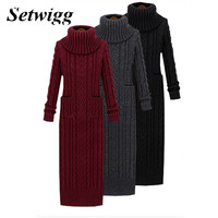 Setwigg estilo coreano torção de malha longo vestido outono gola de volta dividir pockets torcida malha ocasional vestido de camisola longa