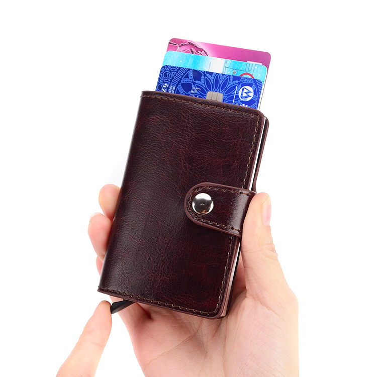 Brand Metal Anti Rfid Wallet for Credit Cards Business Credit Card Holder Porte Carte id Cardholder Holder Rfid Case Protection  ...