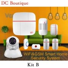 (1 Unidades Kit B) Vcare WIFI GSM de Doble red de sistema de Alarma Inteligente IOS y Andorid APLICACIONES Cámara de Alarma de la Seguridad Casera PIR Puerta abierta