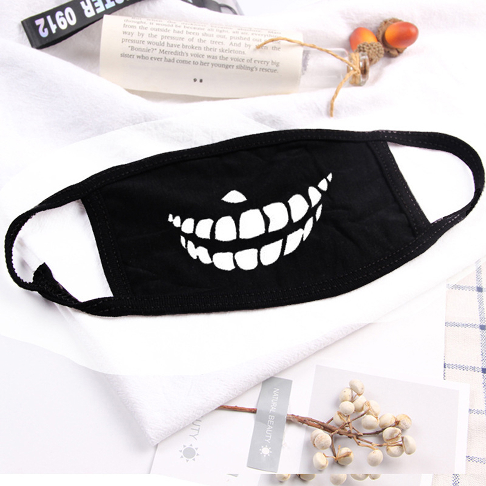 2019 Creative Women Anti-Dust Print Cotton Mouth Health Cycling Face Mask Respirator Outdoor Sports Supplies Black Unisex Korean