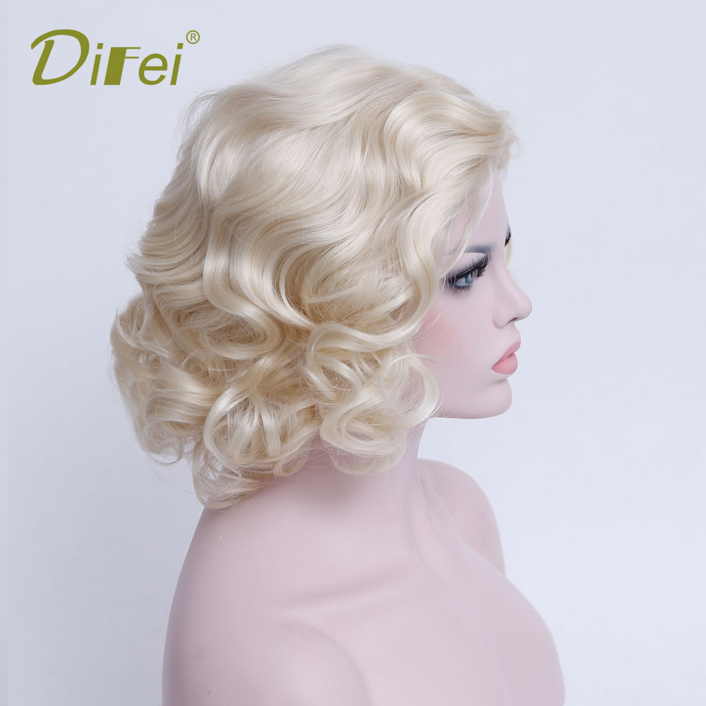 DIFEI Short Curly Hair High Temperature Synthetic Female Cospaly Wig Halloween Party Hair Extension