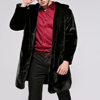 Winter New Fashion Mens Faux Fur Long Coats Male Casual Jackets Plus Size Black Motorcycle Pockets Chaquetas Hombre Outwear