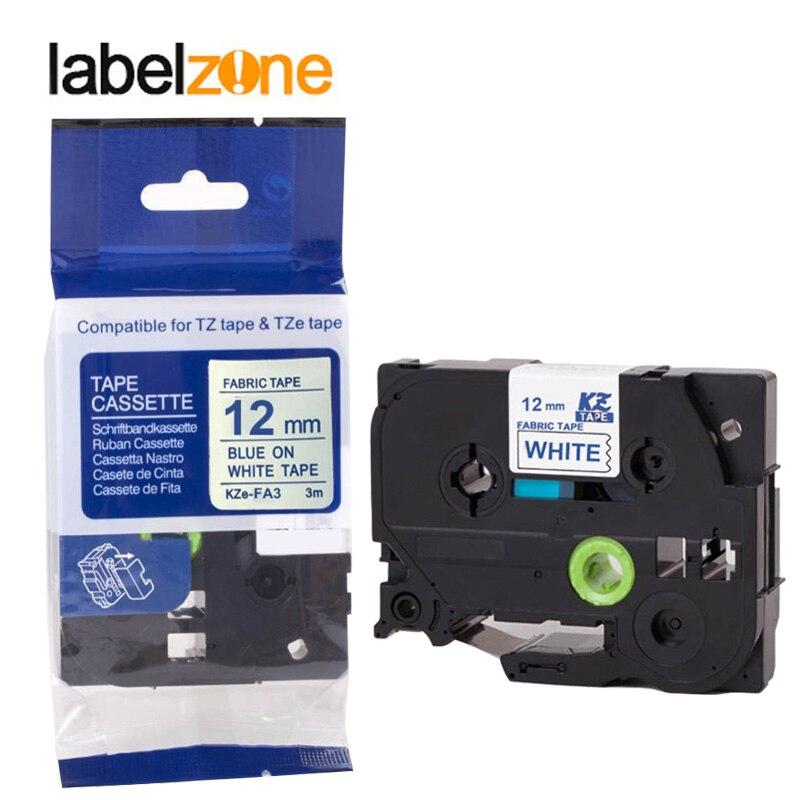TZe-FA3 Tz FA3 Tze FA3 Tz-FA3 TzFA3 TzeFA3 SE2 Fabric Blue On White IRON Tapes For Brother Label Printers