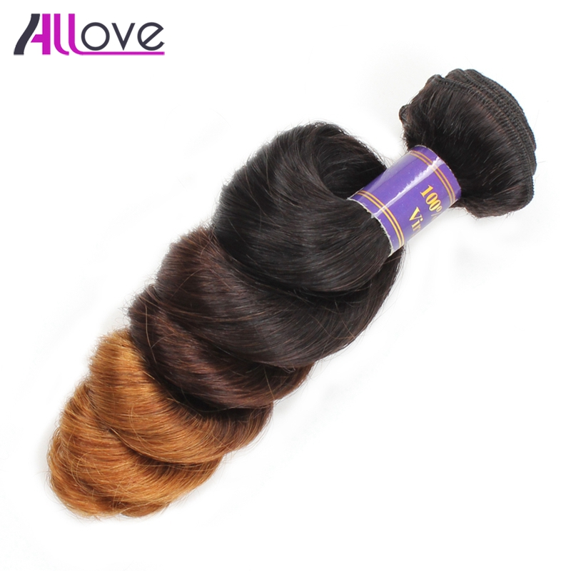 Allove Brazilian Loose Wave Ombre Hair Bundles T1B/4/30 Color Human Hair Bundles 12-24inch Double Weft Remy Hair Weave Extension