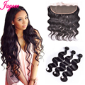 Peruvian Body Wave With Closure 3 Bundles Ear To Ear Lace Frontal With Baby Hair Human Hair Lace Frontal With Bundle Full Lace