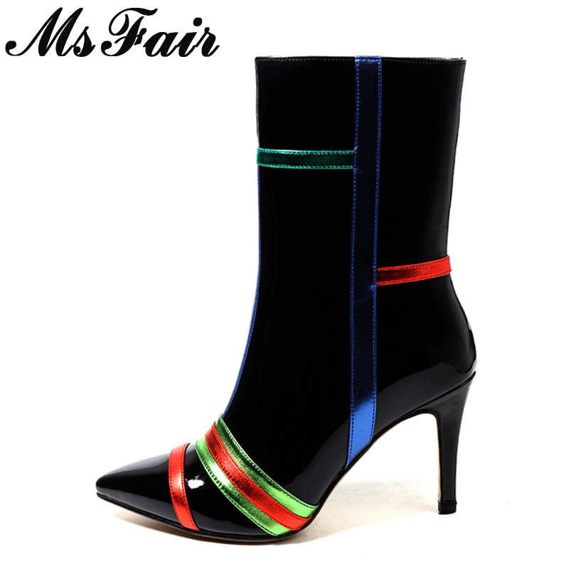 MsFair Pointed Toe Thin Heels Women Boots Ladies Super High Heel Mid Calf Boots 2017 Winter Zipper Striped Women's Boots Shoes most popular women summer mid calf boots high heel sandals open toe cutouts design elegant black stilettos ladies casual shoes