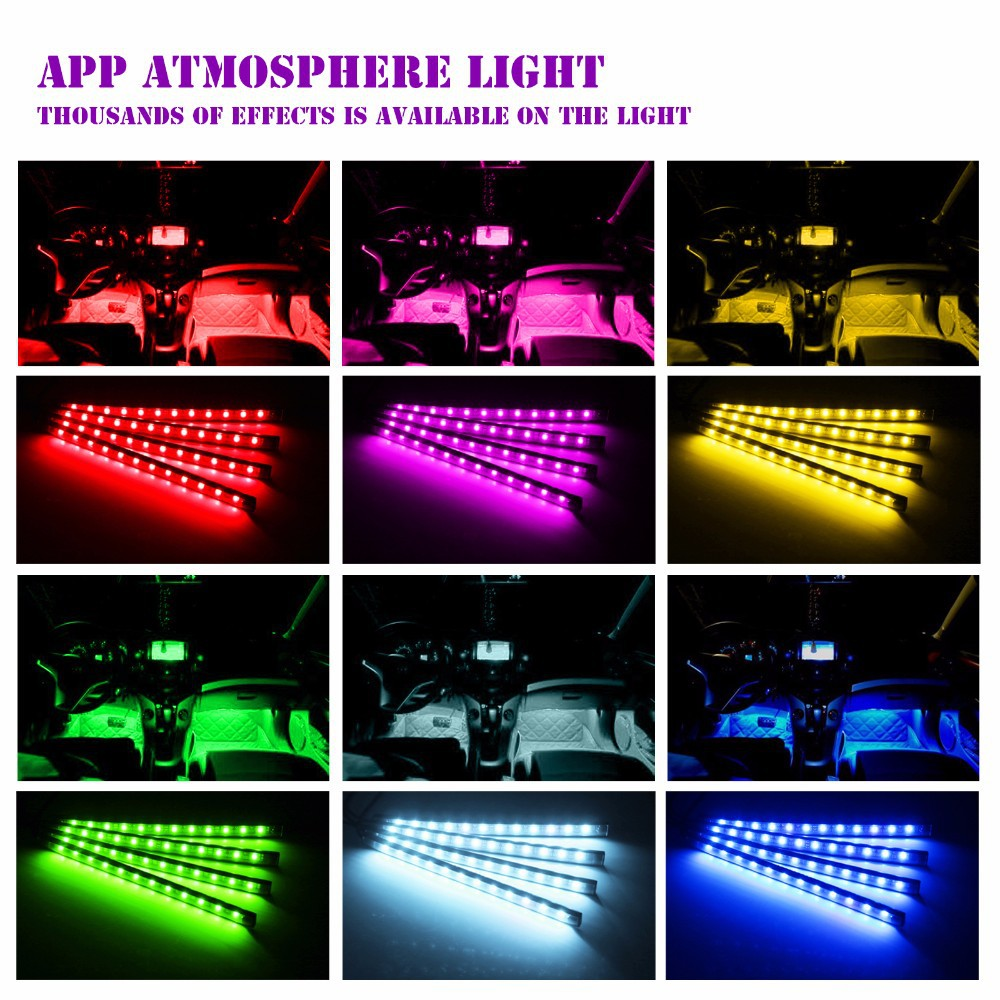 4x Car LED RGB Music Interior Atmosphere Floor Underdash Lighting RGB Music Control Strip Lights Kit Multicolor APP Bluetooth Controller for iPhone Android 1