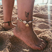 Beach Womens Vintage Antique Gold Anklet Shell Sequins Beads Geometry Charm Ankle Bracelet Boho Style Footwear