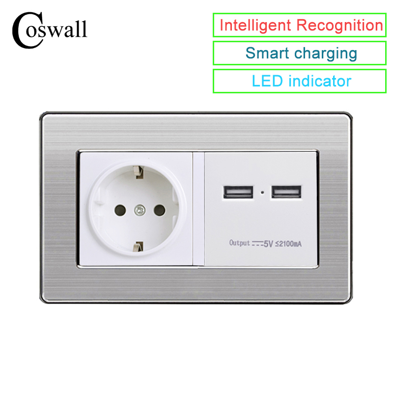 COSWALL 146 Type Wall Socket EU Standard Power Outlet With Dual USB Smart Charge Port For Mobile 2.1A Stainless Steel PanelCOSWALL 146 Type Wall Socket EU Standard Power Outlet With Dual USB Smart Charge Port For Mobile 2.1A Stainless Steel Panel