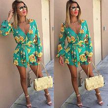 2016 Summer new style floral print women short jumpsuit romper Deep v neck strap playsuits overalls
