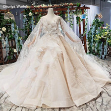 HTL586 light champagne wedding dresses with detachable cape o-neck sequined special wedding gowns with train vesrido de noiva(China)