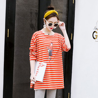 new 2019 Spring and Autumn New Korean loose fashion striped t shirt long pregnant mom dress shirt fashion Fat sister