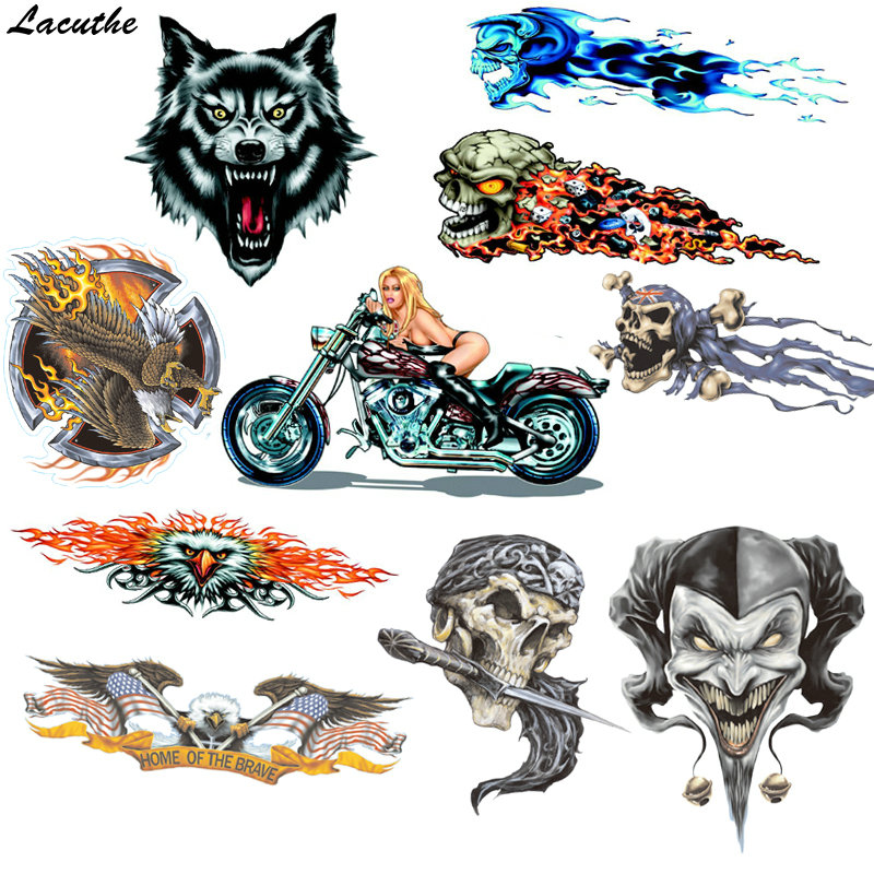 Vinyl Wolf Head Decals Skull Head Fire Flame Funny Eagle Clown Sticker For Motorcycle Car Door Stickers Truck Helmet Decor