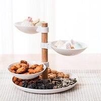 3 вращающиеся коробки тарелки для фруктов тарелки для закуски тарелка для торта конфеты лоток для посуды керамический поднос для десерта де...