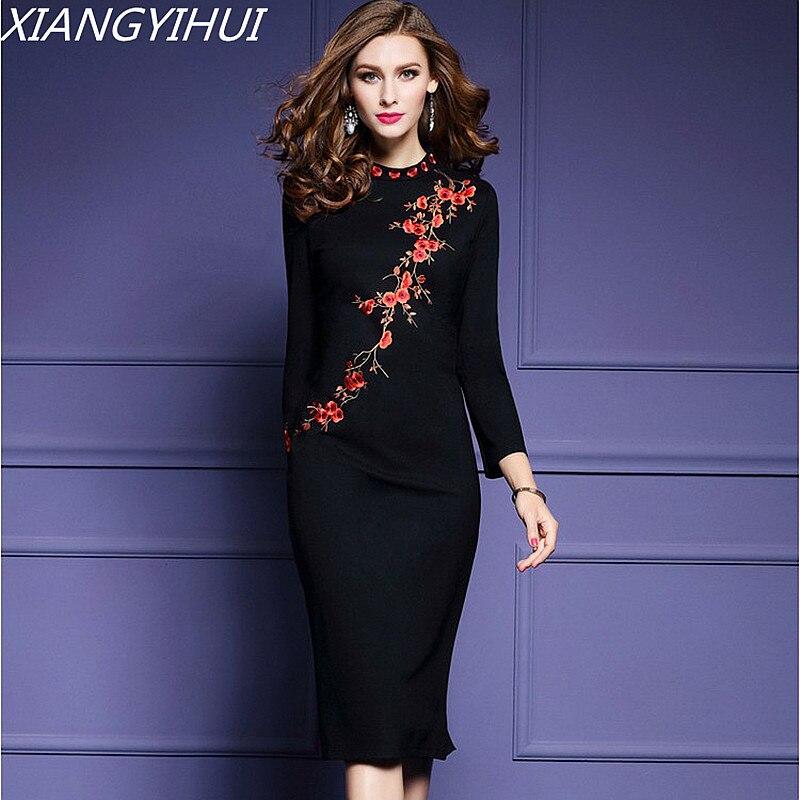 2018 Женские plum потока платье с вышивкой Элегантный О-образным вырезом с длинным рукавом черный Bodycon Вечеринка платье плюс Размеры S-3XL Vestidos