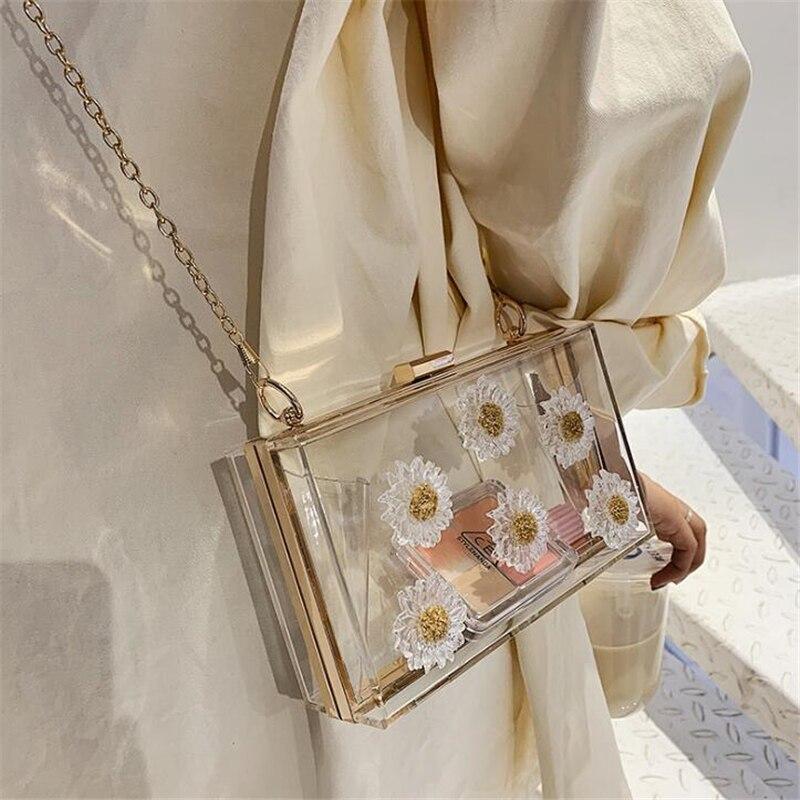Акриловая прозрачная сумка-мессенджер с милыми цветами, женская сумка через плечо, маленькая сумка-клатч для вечеринки, Новинка лета 2019