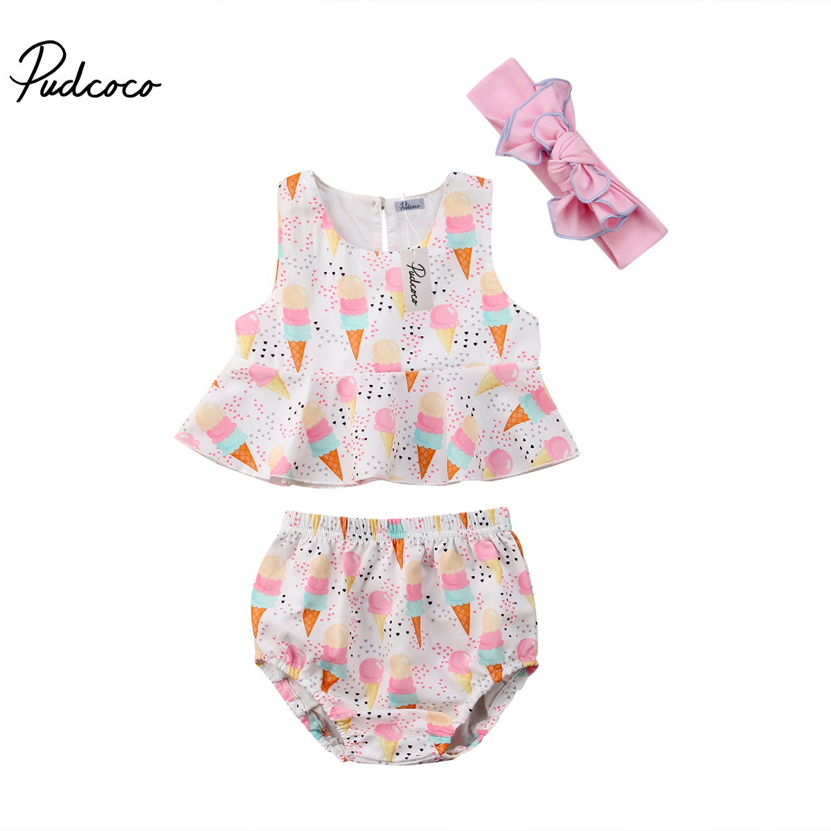 2018 Brand New Toddler Infant Newborn Baby Girls Ice Cream Vest Tops Shorts Briefs Headband 3pcs Outfit Clothes Summer Sunsuit