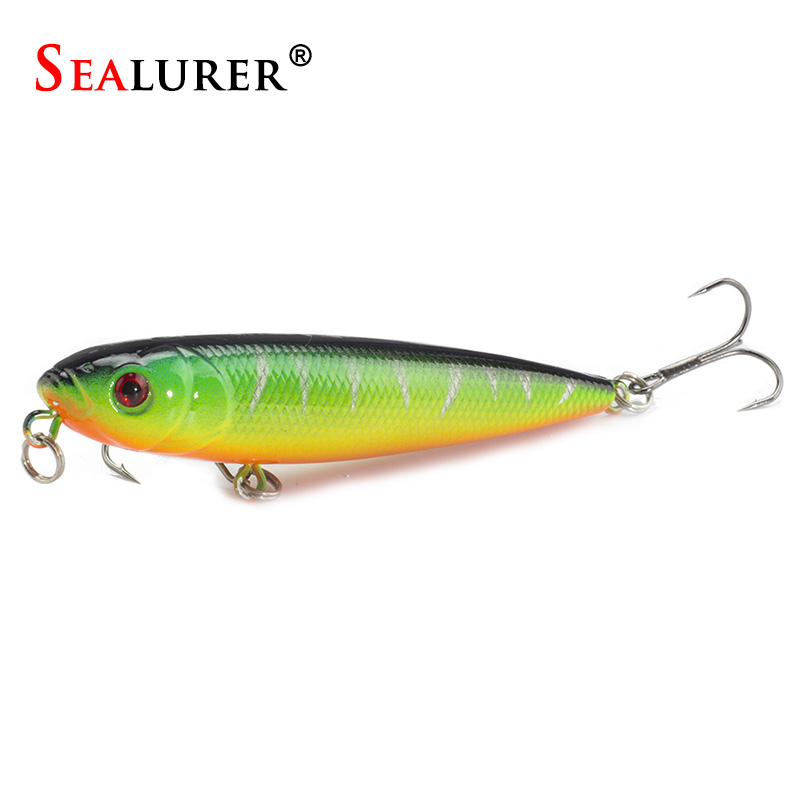 Pencil Fishing Lures 3D eyes 8CM 9G 6# Treble Hooks Plastic Wobbler Artificial Hard Bait Floating Surface Fishing Tackle 4pcs set of fishing lures saltwater hard bait metal spoon fishing lure spinner wobbler treble hooks for sea fishing accessory