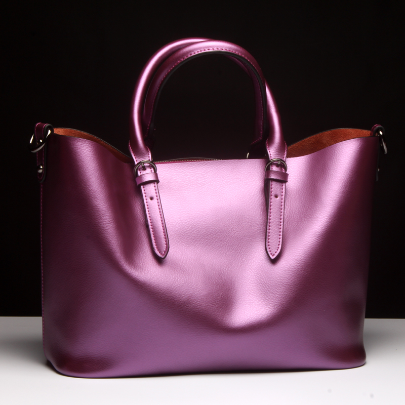 Women Handbag Genuine Leather Shoulder Bag Female Bags Cowhide Portable Shopping Bag Vintage Large Capacity Tote Bolsos Purple high quality projector lamp tlplv8 for toshiba tdp t45 tdp t45u with japan phoenix original lamp burner