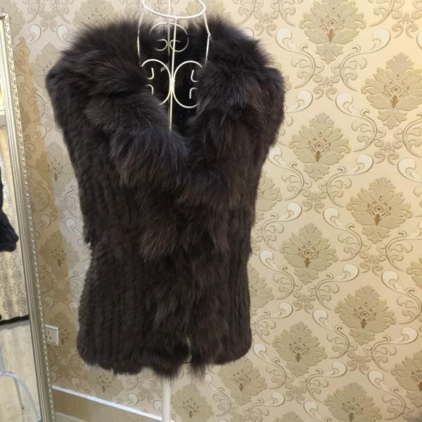 Подлинная настоящее природный кролика меховой жилет с меховым воротником лиса женщин мода шуба женская меховая верхней одежды