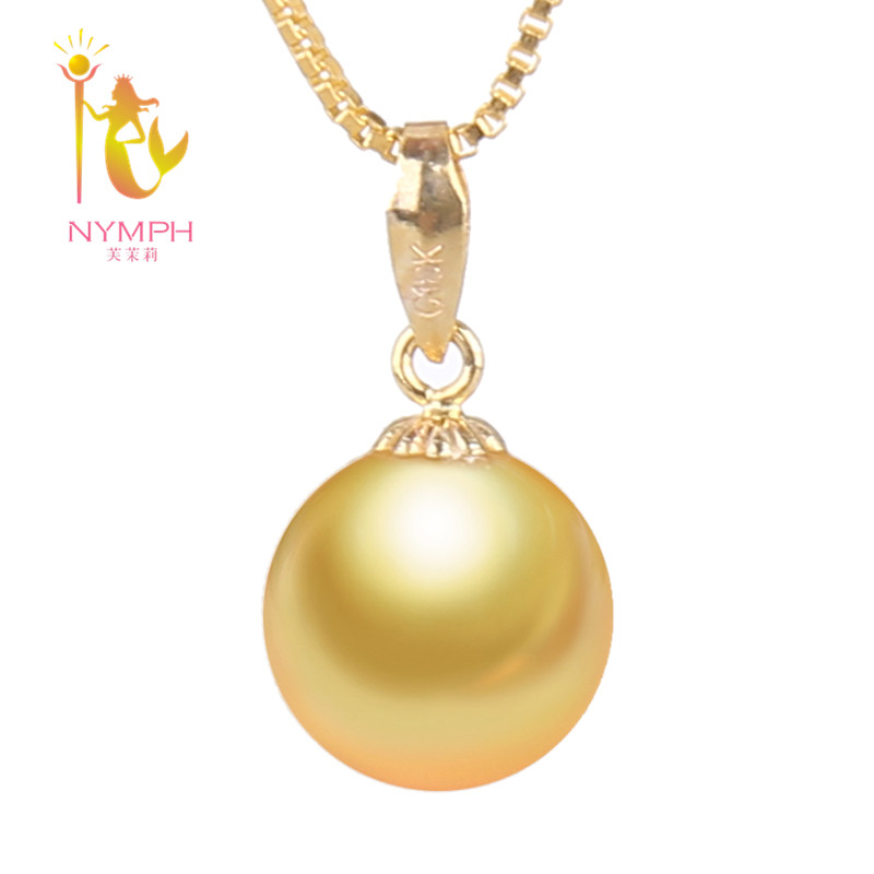 NYMPH 18K Yellow Gold Pearl Jewlery Natural South Gold Pearl Necklace Pendant 9-10mm Round Wedding Party Gift For Women GirlD219 yoursfs heart necklace for mother s day with round austria crystal gift 18k white gold plated