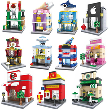 Mini Street Scene 3D Model Retail Store Shop Miniature City Building Block Toy with BOX Hsanhe Compatible with lego [yamala] series mini street model store shop with apple store mcdonald s building block toys compatible with legoingly hsanhe