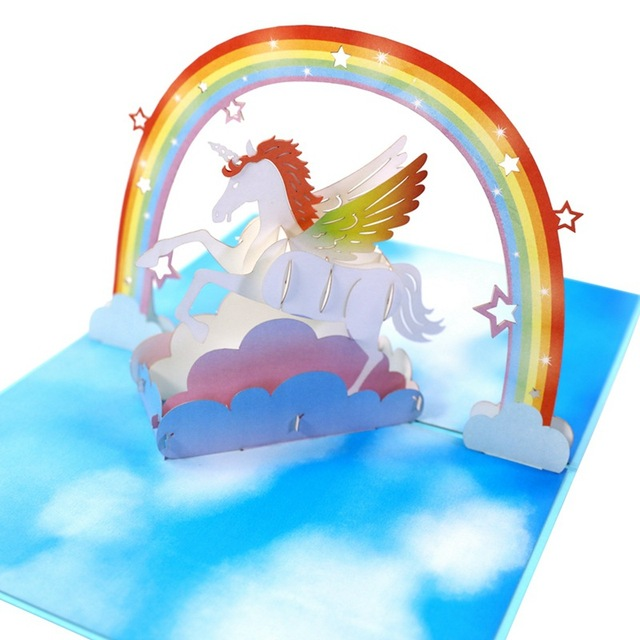 Unicorn Birthday Cards Handmade Paper Art 3D Stereoscopic Blessing Card Holiday Souvenirs Party Decoration Wedding FavorPAC37