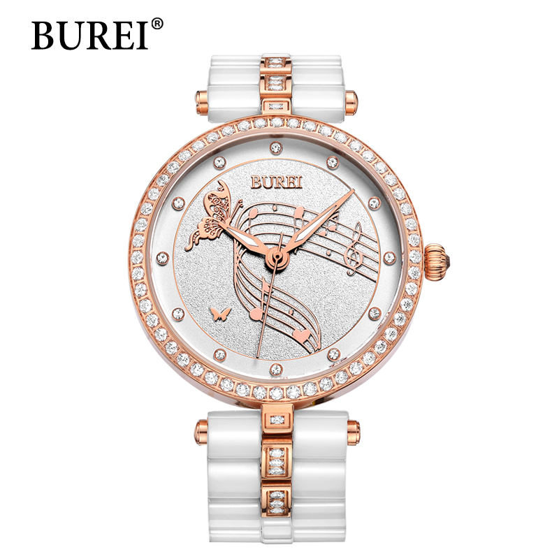 BUREI Women Watches Top Fashion Brand Silver Lens Clock Female New Gold Quartz Wristwatches With White Ceramic Bracelet Hot Sale guess new silver white women s medium m cropped gathered halter top $49 007