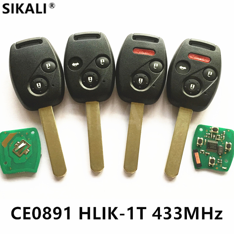 Remote Car Key for CE0891 HLIK-1T 433MHz for Honda Accord Element CR-V HR-V Fit City Jazz Odyssey Civic Auto Control Alarm Fob