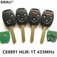 Remote Car Key For CE0891 HLIK 1T 433MHz For Accord Element CR V HR V Fit
