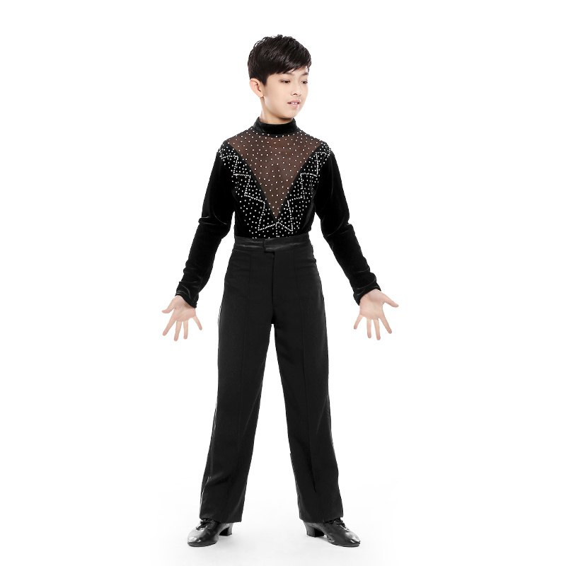 High Neck Mesh Velvet Latin Competition Dance Costumes Boys Tango Samba Modern Ballroom Latin Shirts For